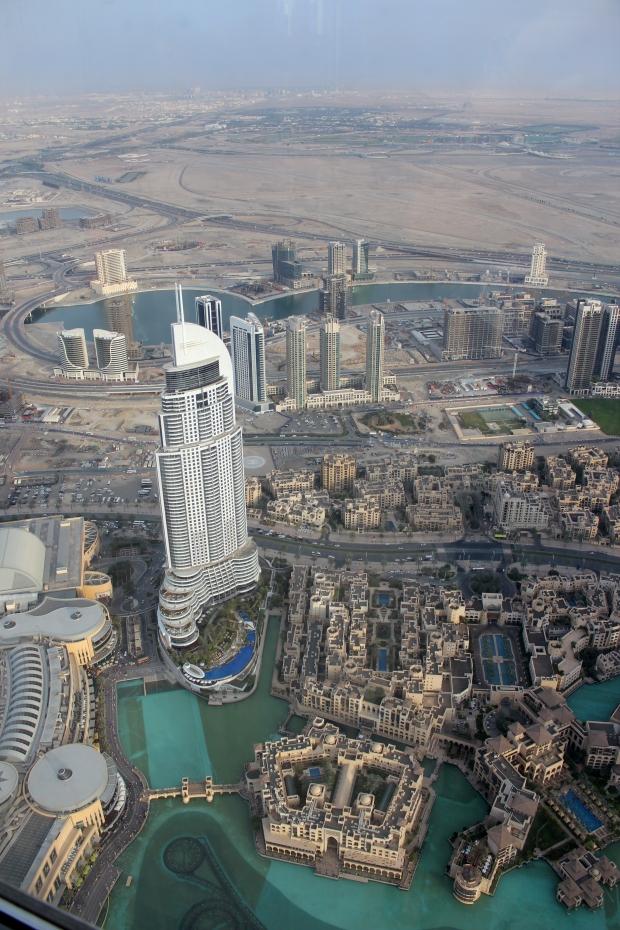 The Dubai Mall and the Dubai Fountain from above