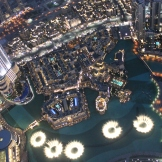 """The """"Dubai Fountain"""" and the Dubai Mall at night seen from the Observation Desk of the Burj Khalifa"""