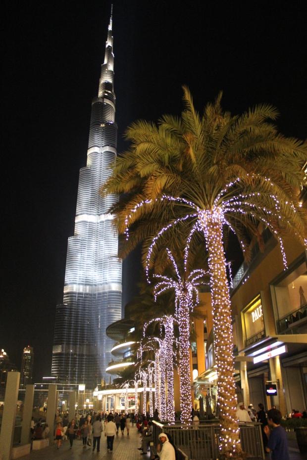 The Burj Khalifa at night, seen from the Dubai Mall