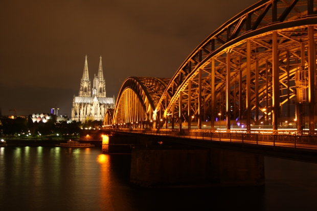 "Cologne Cathedral ""Kölner Dom"" and Hohenzollern Bridge at night"